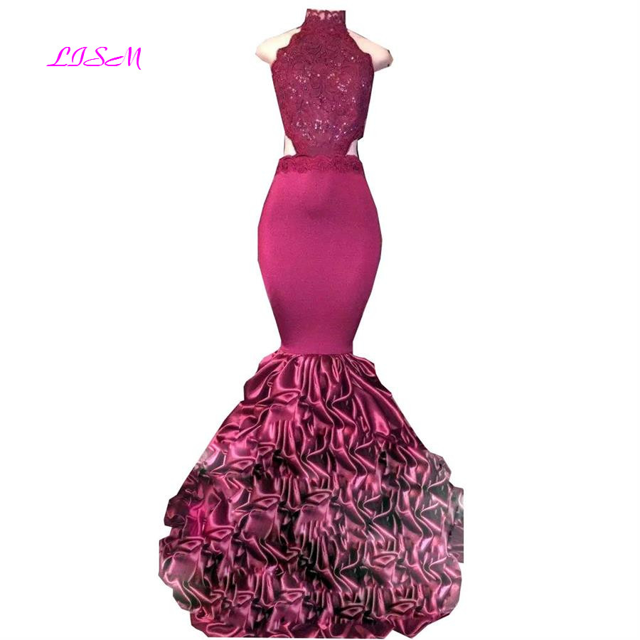 African Mermaid Long Prom Dresses Sexy Bodie Backless Evening Formal Gowns Lace Appliqued Ruffled Sweep Train Arabic Party Dress