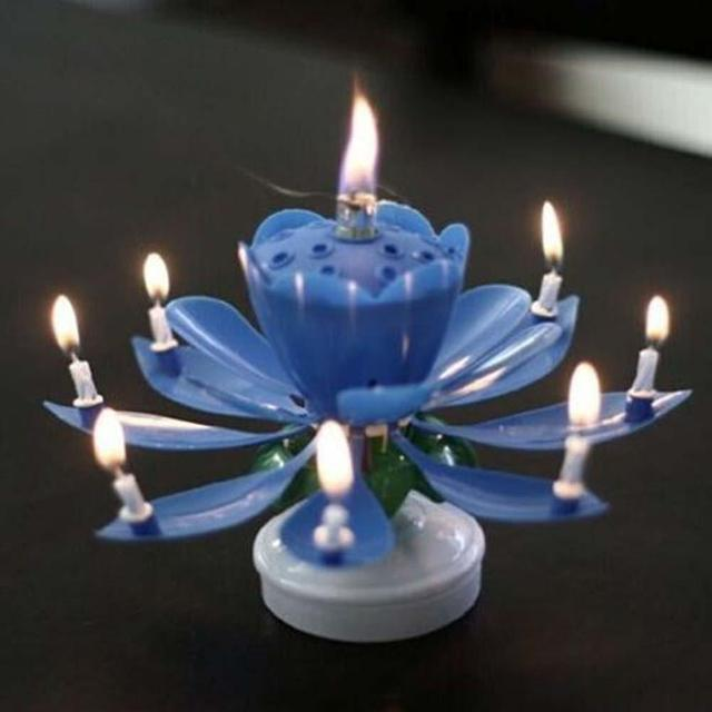 Romantic Musical Lotus Flower Rotate Happy Birthday Party Gift Candle Light Bule Color High Qualite Daisy Shape Petal