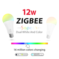WASEDA Dual white and color 12W LED ZIGBEE bulb RGB light ww/cw AC100 240V ZIBEE ZLL Link light work with amazon ecoh E27E26