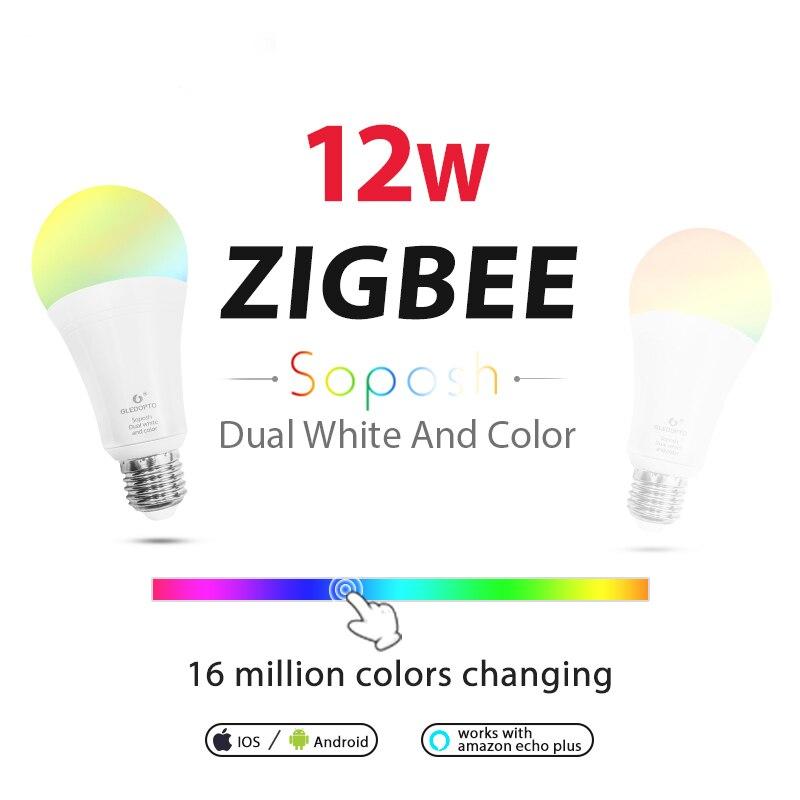 WASEDA double blanc et couleur 12 W LED ZIGBEE ampoule RGB lumière ww/cw AC100-240V ZIBEE ZLL lien lumière travail avec amazon ecoh E27E26