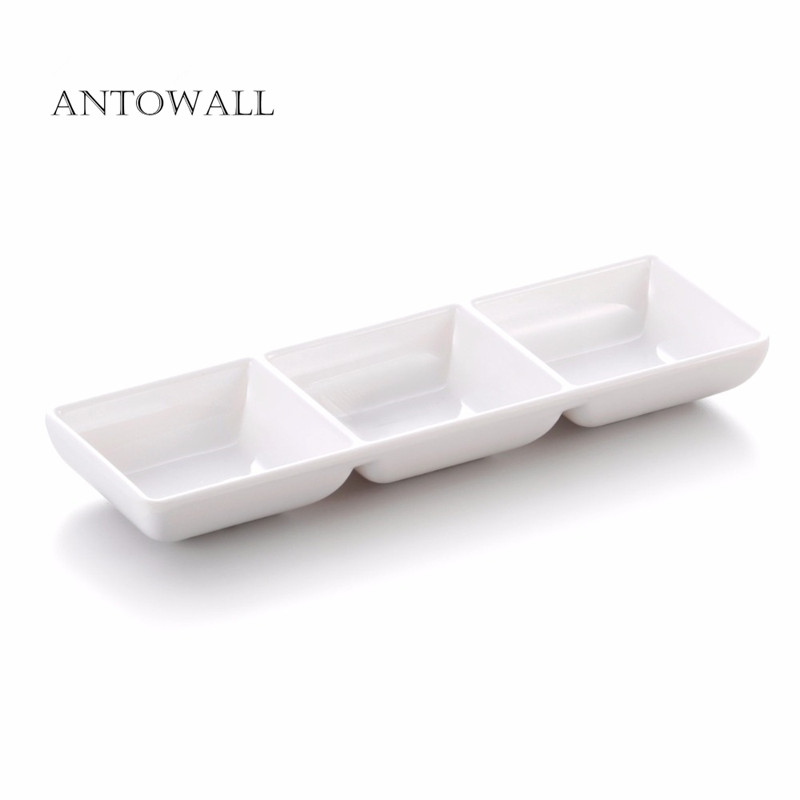 ANTOWALL white melamine sauce dish cheap plastic wasabii dish bowl 3 grid soy sauce dish for restaurant