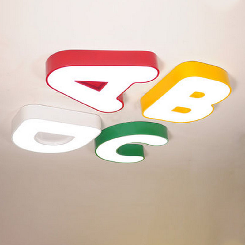 T 2016 New Lovely Sweety Letter ABCD Creative Ceiling Light For Childrens Room Colorful Lamps Bedroom Home Lighting DHL Free