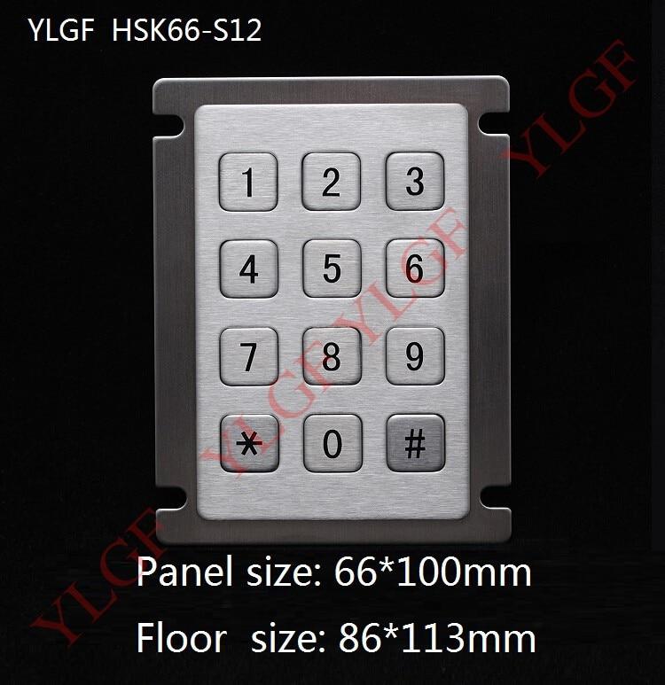 Teclado de 12 teclas Teclado metálico para teléfono * # Interfaz USB YLGF HSK66-S12 a prueba de agua (IP65), polvo, anti violencia