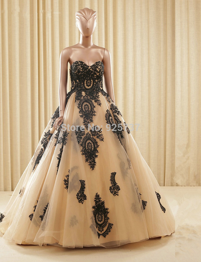 Gold and Black Ball Gown Dresses