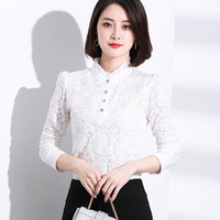 2017 Long Sleeve Stand Collar Flower Hollow Out Lace Women Blouse Shirt White S M L