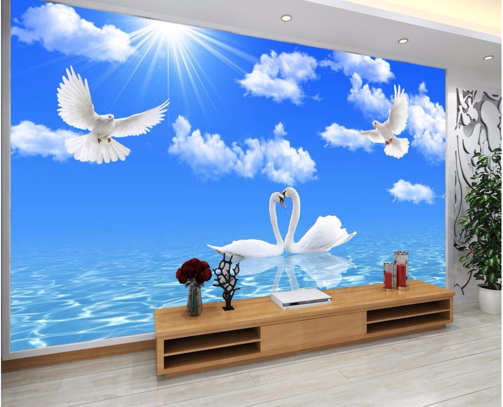Custom mural photo 3d wallpaper blue sky and white cloud for Custom mural painting