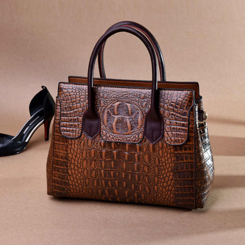 2019 新ヴィンテージ本革バッグ女性アリゲーター高級ハンドバッグ女性のバッグデザイナークロスボディバッグ女性のためのハンドバッグ