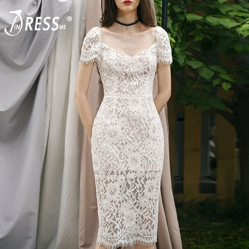 INDRESSME Elegant Solid Knee Length Bodycon Hollow Out Dress Sexy Lace V Neck Short Sleeve Women Bandage Dress Vestidos 2019