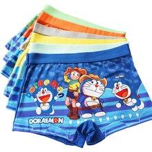 12 adet/grup BoyS 3 8Y çocuk Boxer şort yumuşak bebek erkek külot pamuk külot çocuk karikatür Doraemon iç çamaşırı