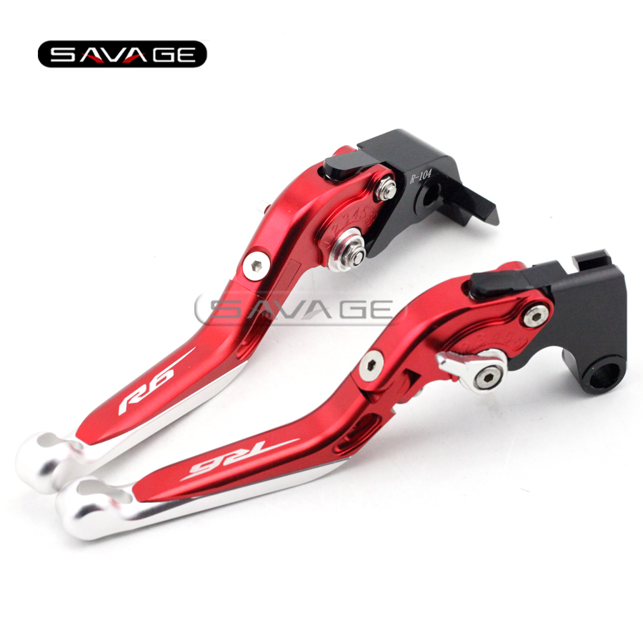 For YAMAHA YZFR6 YZF-R6 2005-2016 Red+Silver Motorcycle Adjustable Folding Extendable Brake Clutch Lever logo R6 6 colors cnc adjustable motorcycle brake clutch levers for yamaha yzf r6 yzfr6 1999 2004 2005 2016 2017 logo yzf r6 lever