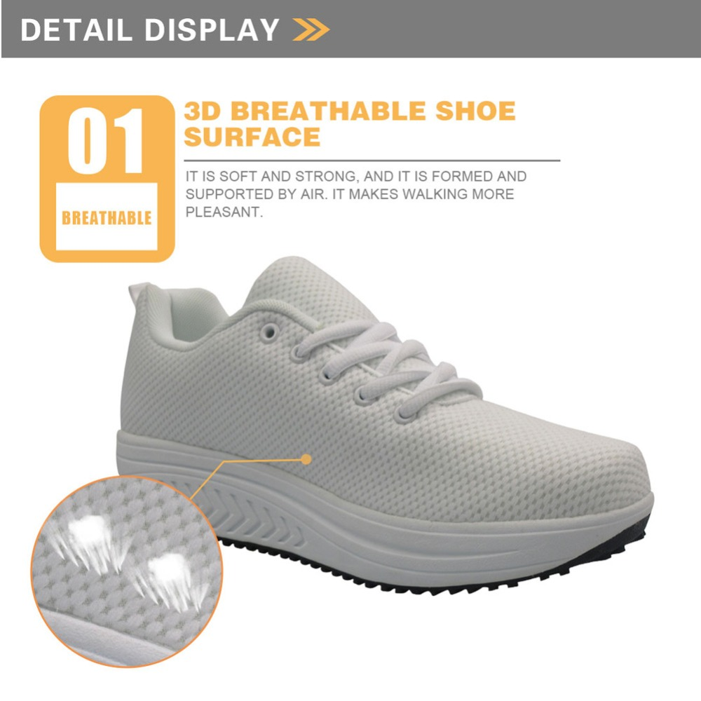 Twoheartsgirl Fresh French Bulldog Printing Platform Shoes for Women Pink Ladies Wedge Swing Shoes Mesh Slimming Shoes Plus