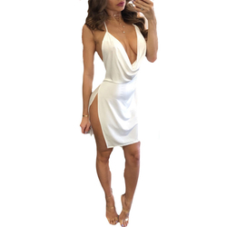 Sexy Women V-neck Backless Halter Dresses Summer Casual Sleeveless Evening Party Short Mini Dress 1