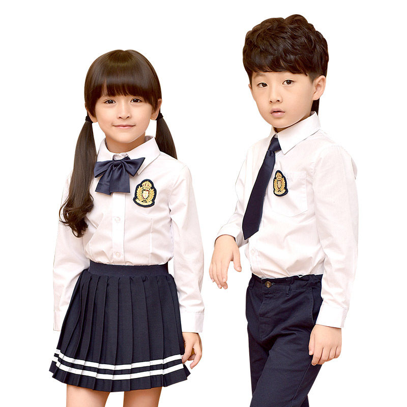 Children Cotton Student School Uniforms Set Suit For Girls Boys Casual Shirts Skirt Pants Tie Clothes Sets 2-10T