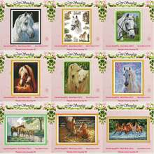 Horse family White horse animals counted 11CT 14CT Cross Stitch Set DIY DMC Cross-stitch Kit Embroidery Needlework Home Decor(China)