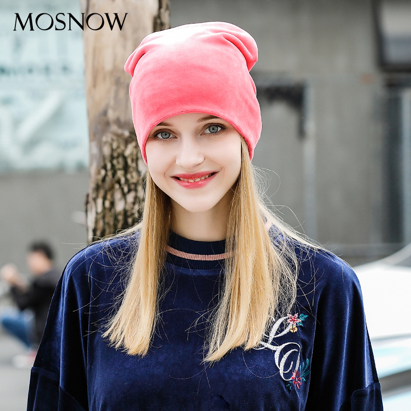 MOSNOW Womens Hats Flannel Brand New High Quality Solid Fashion 2017 Warm Winter Cap Women Skullies Cap Bonnet Femme #MZ808