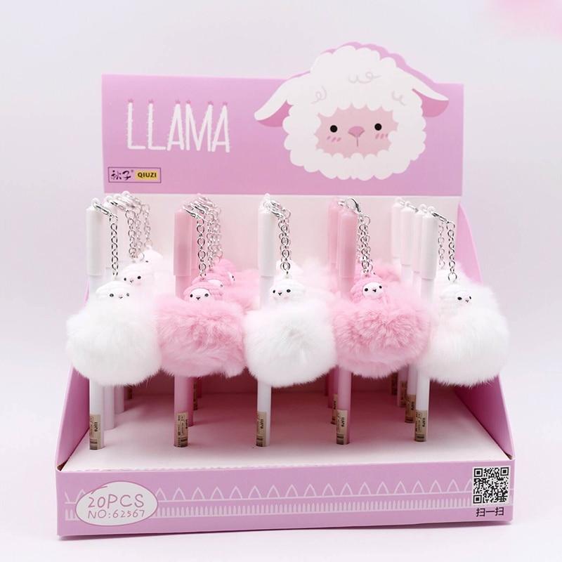 Cartoon Alpaca Hair Ball Plush Pendant Gel Pen Cute 0.5 Mm Black Ink Signature Pen Promotional Gift Stationery School Supplies