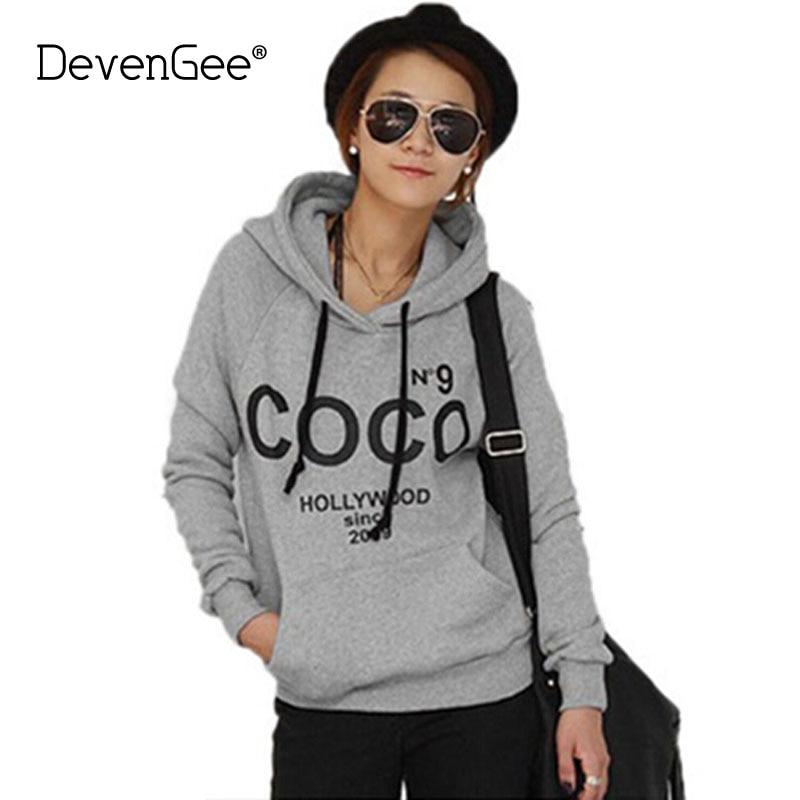 DevenGee Autumn Korean Hip Hop Hoodie For Women Long Sleeve COCO Letter Hooded Fleece Female Sweatshirt Streetwear Pullover Tops