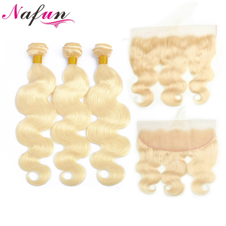 NAFUN Hair 613 Bundles With Closure Non-Remy Hair Blonde Peruvian Body Wave Human Hair Hair 3 Bundles With 13*4 Lace Closure