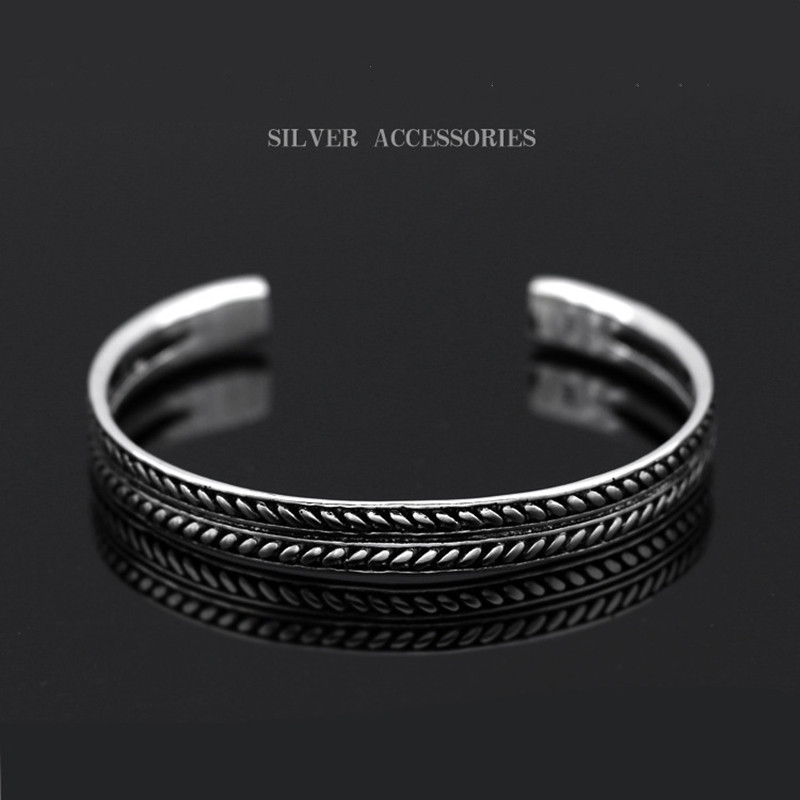 XIYANIKE Hot Selling 925 Sterling Sliver Silver Color Vintage Decorative Leaves Pattern <font><b>Open</b></font> <font><b>Bracelet</b></font> Bangle For Women Men image