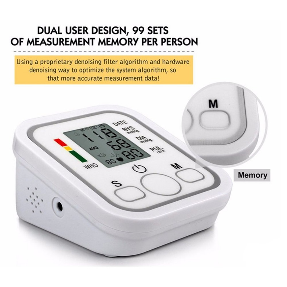 New Blood Pulse Pressure Monitor Arm Type Electric Voice Tonometer Meter Health Care 99 Memory Sets Household SphygmomanometerNew Blood Pulse Pressure Monitor Arm Type Electric Voice Tonometer Meter Health Care 99 Memory Sets Household Sphygmomanometer
