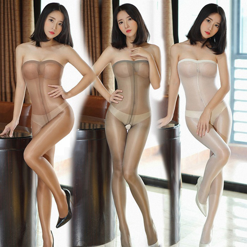 Strapless Oil Shinny Glossy Stockings 2017 Sexy Women Underwear Bodysuit Transparent Tights Lingerie Pantyhose Open Crotch Media