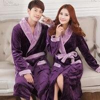 Autumn And Winter Thickening Coral Fleece Sleepwear Lovers Ultra Long Plus Size Flannel Robe Male Bathrobe