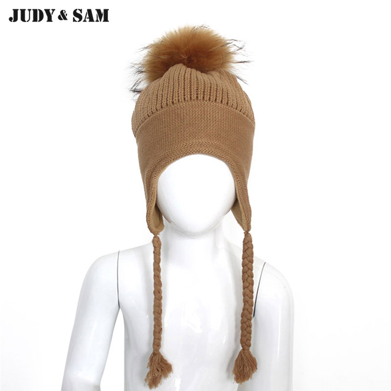 Warm Winter 3-6 years Children Cotton Braid Hats with Thick Lining Genuine Raccoon Fur Pom Pom Beanies For Boys Girls Outwear new star spring cotton baby hat for 6 months 2 years with fluffy raccoon fox fur pom poms touca kids caps for boys and girls