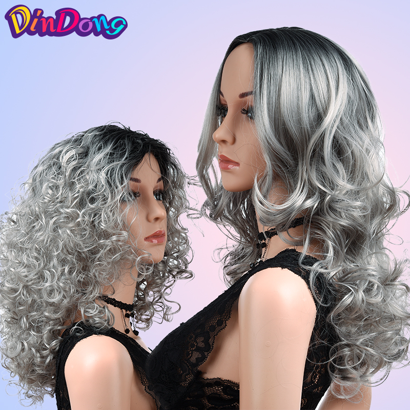 DinDong Kinky Curly Wigs For Women Ombre Gray Wig 18 Inch Synthetic High Temperature Hair Cosplay Party Wig