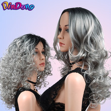 DinDong Kinky Curly Wigs For Women Ombre Gray Wig 18 inch Synthetic High Temperature Hair Cosplay Party Wig(China)