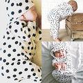 Newborn Baby Boy Girl Warm Long Sleeve Hoodie T-shirt Top+Pant Outfits White and Black Dot Printed Set Kids Clothing