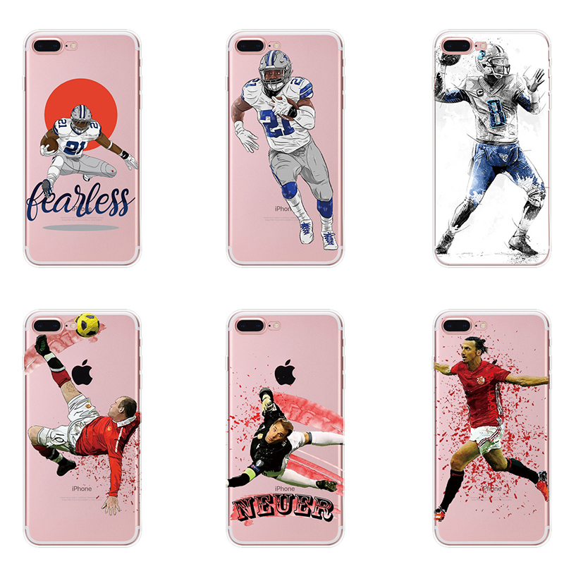 Plus Football Superstar Winner Football Basketball MBA Soft TPU Football Clear Phone Cases for IPhone 5 5S 6 6S 7 7PLUS 8 Plus image