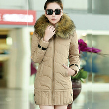New 2014 high quality warm women winter jacket fur hood solid color coat fashion long slim wadded thick parka female