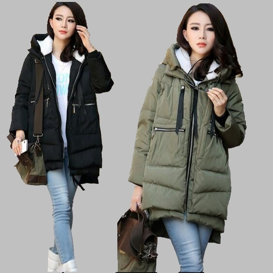 Women Winter Coat Korean Fashion Hooded Down Jacket Medium-length Slim Cotton Coat Large size Casual Thicken Cotton Jacket AB337