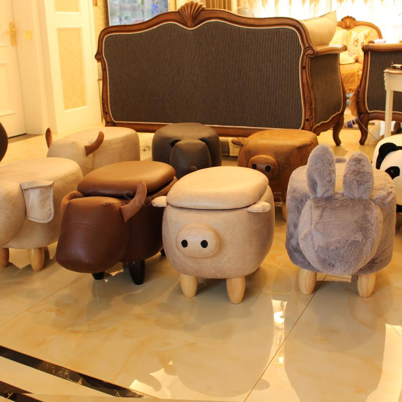 Creative Cow Sofa Stool Change Shoes Solid Wood Footstool Pig Elephant Stool Animal Sheep Dressing Storage Stool