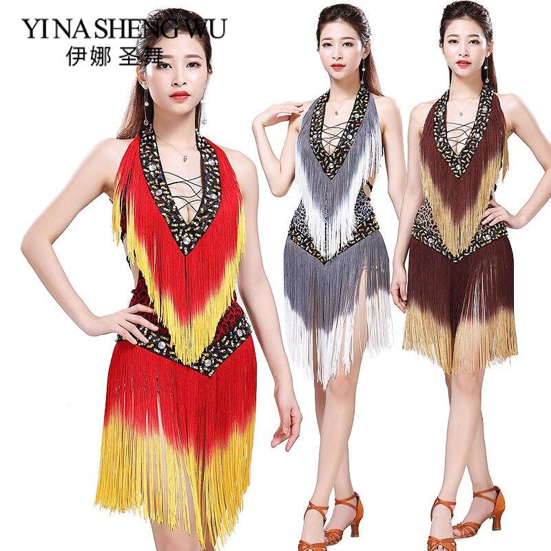 Новое платье для бальных танцев, латинское платье для самбы, женское сексуальное леопардовое платье с блестками для сальсы, кружевное плать