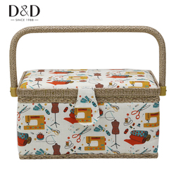 Buy-One-Get-15pcs Free Sewing Tools Home Storage Box DIY Cotton Fabric Crafts Multi-function Sewing Basket 27.5*17.5*15cm