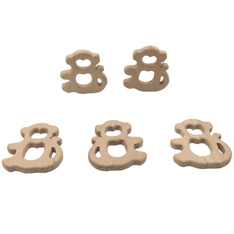 Natural Beech Wooden Monkey Shape Baby Kids Teether Teething Toy Shower Gift