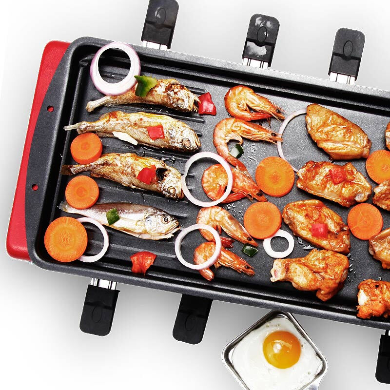 Home Non-smoking Electric Barbecue BBQ Grill Double Layer Large Capacity Griddle with 8 Small Dishes for 6-10 People Multicooker