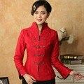 Novo Vermelho Mandarim Jaqueta de Algodão Tradicional Chinesa Tang Terno de Linho das Mulheres collar da longo-luva brasão tamanho s m l xl xxl xxxl t019
