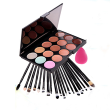 20Pcs Cosmetic Makeup Brushes Kits+ Sponge Puff + 15 Color Concealer Cream