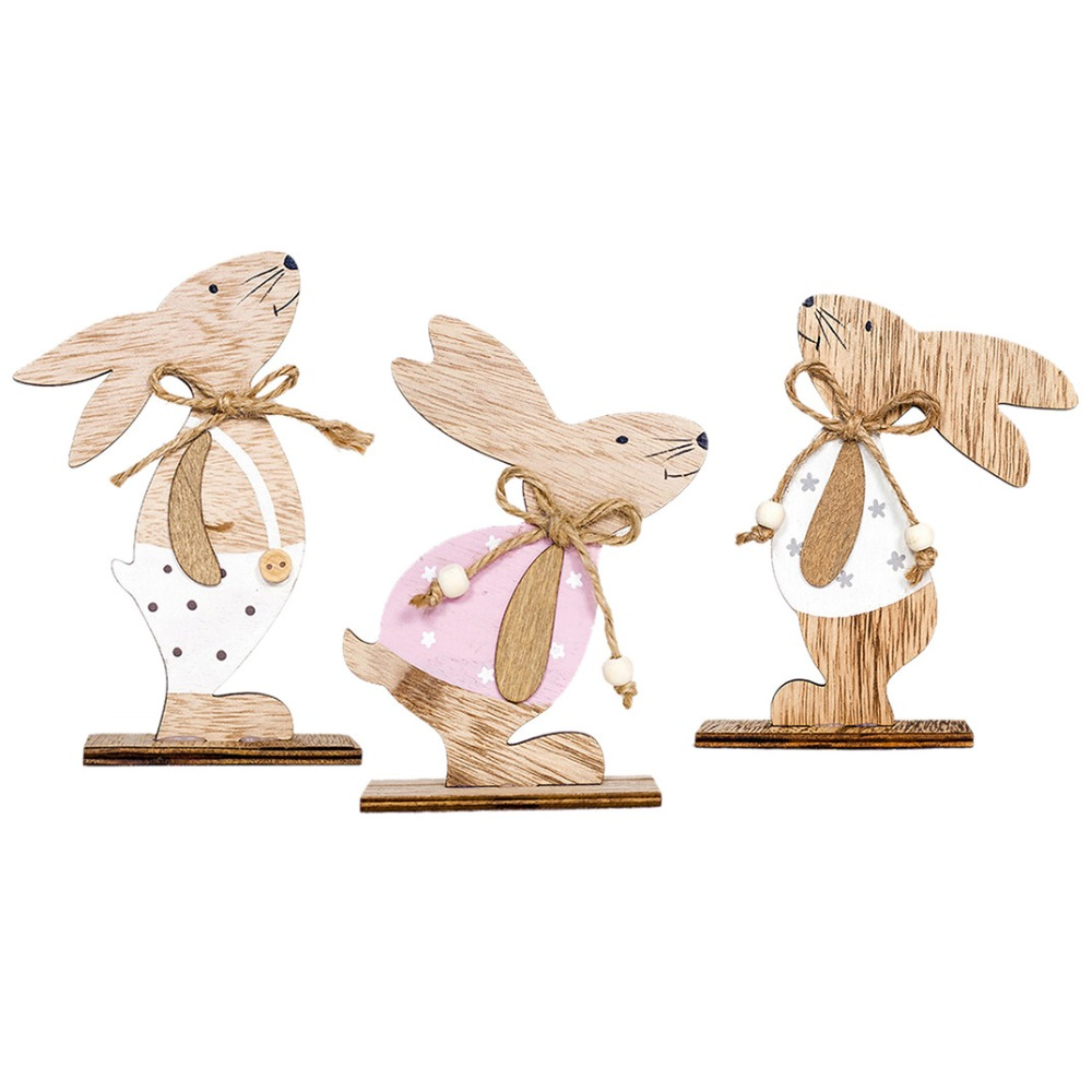 Decorated Pendant Easter Decorations Wooden Rabbit Shapes Ornaments Craft Gifts Wooden Handicrafts Happy Easter Decoration diy