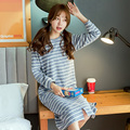 Nightgown Women's new Night Skirt O-Neck Long Sleeve Cotton Stripe Spandex Female's Sleepshirts Casual nightwear  tracksuit