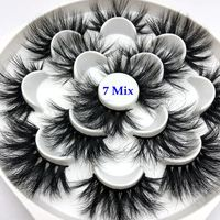 Mikiwi 25mm lashes 7 styles in one tray 3d mink eyelashes 25mm mix 7 pairs per pack strip false eyelash for makeup
