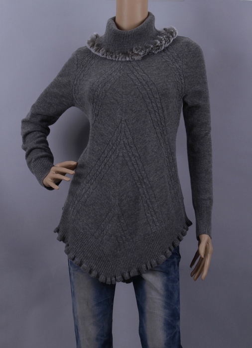 Wool Sweater Clearance-Sale Blue Pullover Cashmere Women Fall Gray Fur Skye Rabbit-Fur
