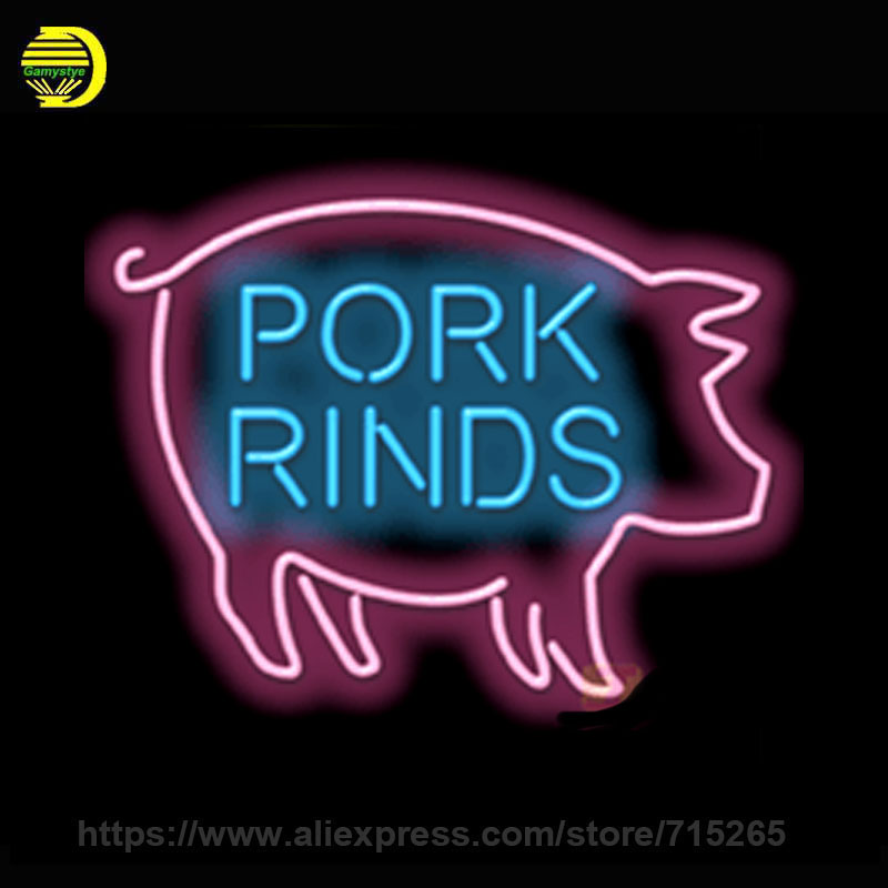 Neon Sign Pork Rinds Handmade Real Glass Tube Custom LOGO Design Neon Bulbs Neon Light Sign Advertise Lamp Store Display 30x24