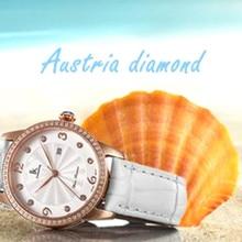 Women Leather Strap Quartz Watch Wristwatch With Calendar Relogio Feminino 98453L S With Gift Box