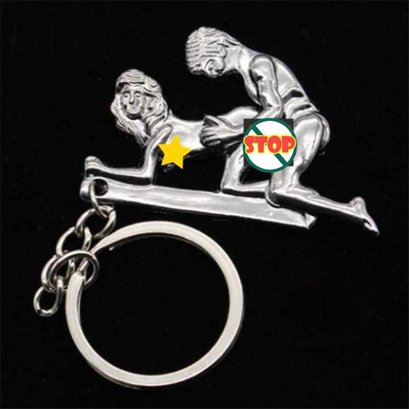 נע 'חובבי Keychain סימולציה פעילות שמח איש מתכת אופנה זוג Keychain קסם מפתח שרשרת טובה ערעור מתנה לחברים