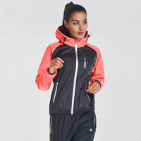 VANSYDICAL Women's Running Jacket Long Sleeve Sports Coat Women Yoga Gym Fitness Zipper Windproof Waterproof Running Jackets