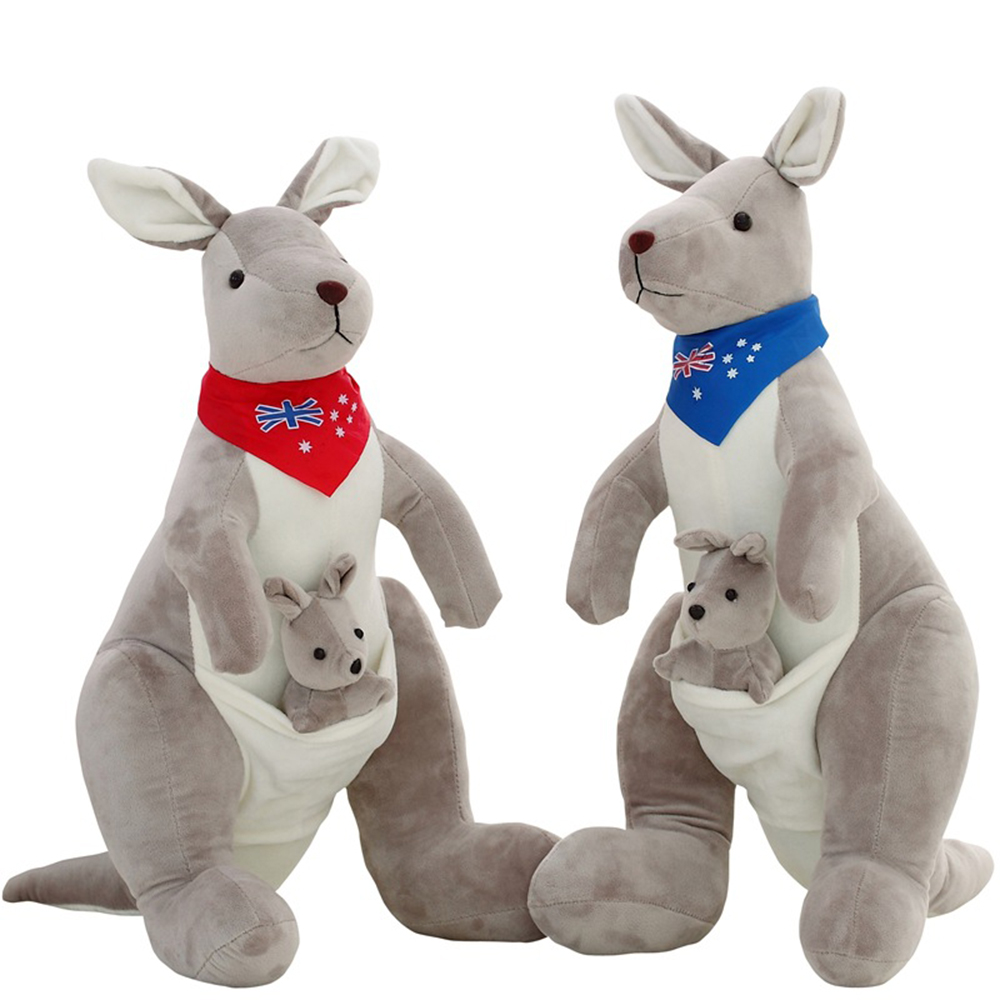 45cm Red&Blue Cute Kangaroo Plush Toy Soft Kawaii Australia Kangaroo Stuffed Doll Animal Kids Toys For Christmas Children Gift 45cm cute dog plush toy stuffed cute husky dog toy kids doll kawaii animal gift home decoration creative children birthday gift