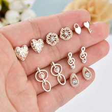 New Rose Gold Color Hearts Round Water Drop Snow Flowers Five Stars Animal Plant Bows Geometric Crystal Stud Earrings Set Women(China)